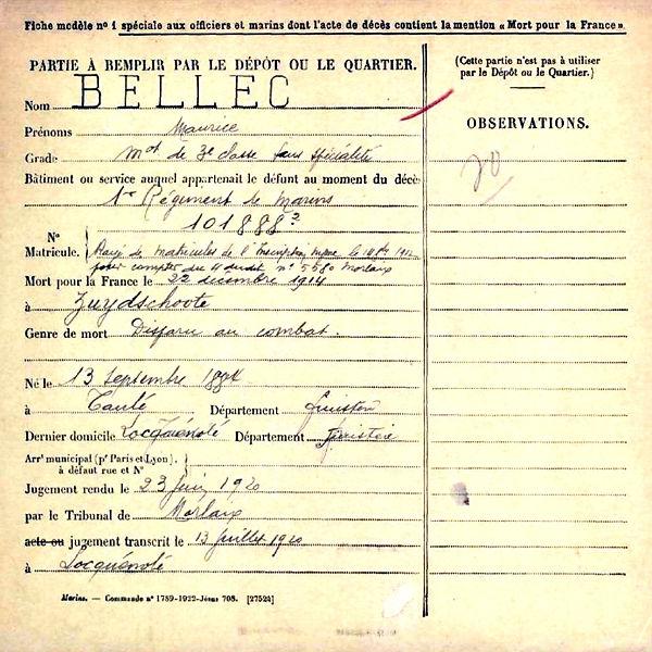 bellec Maurice taulé locquénolé zuydshoote belgique 14-18 Finistère Non Mort France Réformé maladie tuberculose suicide fusillé accident disparu combat
