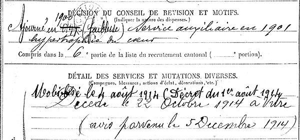 quemere pierre marie elliant vitre ecclesiastie 14-18 Finistère Non Mort France Réformé maladie tuberculose suicide fusillé accident