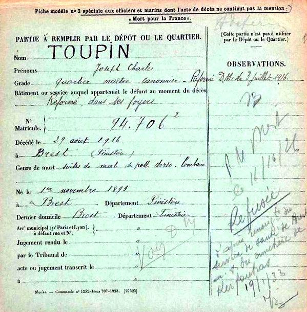 toupin joseph charles brest 14-18 Finistère Non Mort France Réformé maladie tuberculose suicide fusillé accident