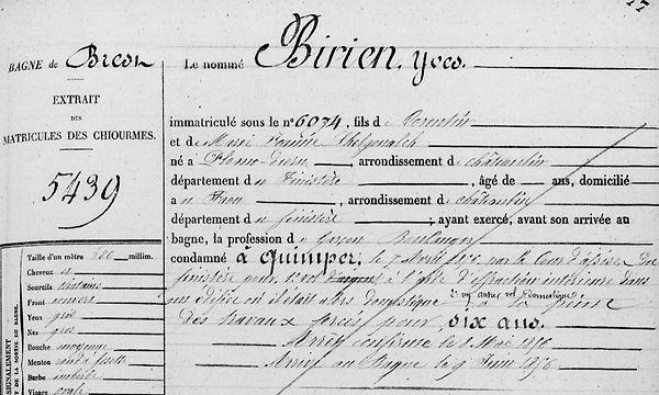 Birien Yves plomodiern le faou lhelgouach guedes bagne guyane cayenne