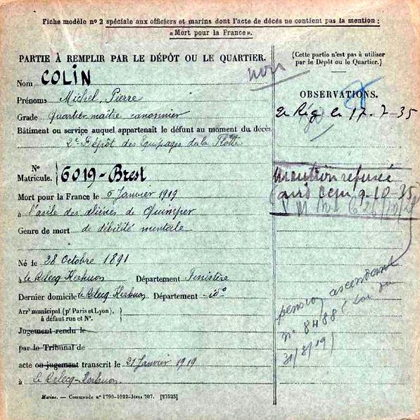 colin michel pierre relecq kerhuon quimper 14-18 Finistère Non Mort France Réformé maladie tuberculose suicide fusillé accident