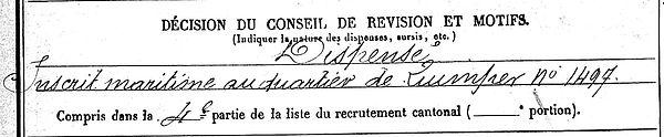 le nours joseph ile tudy braquis bois deguzy 14-18 Finistère Non Mort France Réformé maladie tuberculose suicide fusillé accident