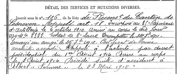 richard goulven yves marie ploudaniel albert somme 14-18 Finistère Non Mort France Réformé maladie tuberculose suicide fusillé accident