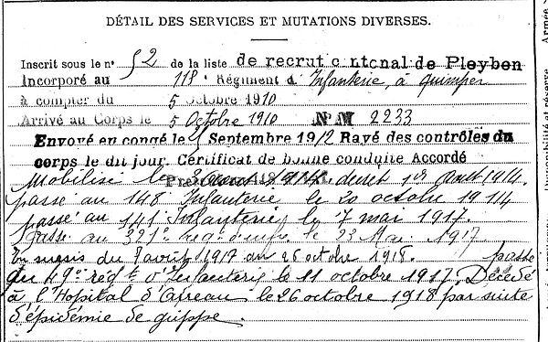 moulin pierre pleyben arreau tarbes 14-18 Finistère Non Mort France Réformé maladie tuberculose suicide fusillé accident