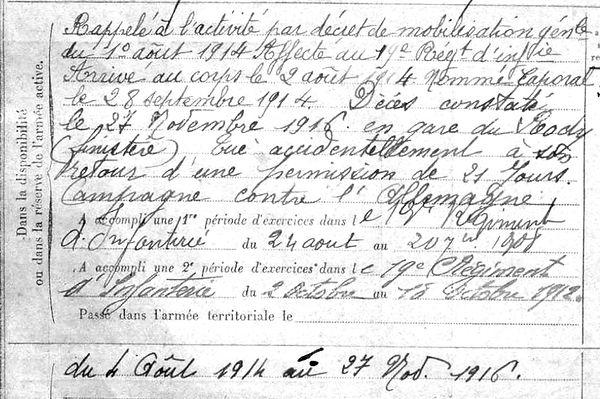 ollivier yves cleder rody 14-18 Finistère Non Mort France Réformé maladie tuberculose suicide fusillé accident