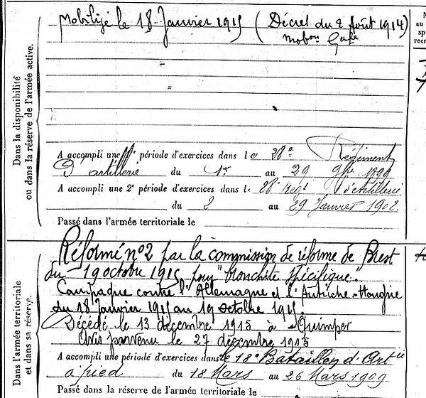 le presque joseph marie quimper 14-18 Finistère Non Mort France Réformé maladie tuberculose suicide fusillé accident