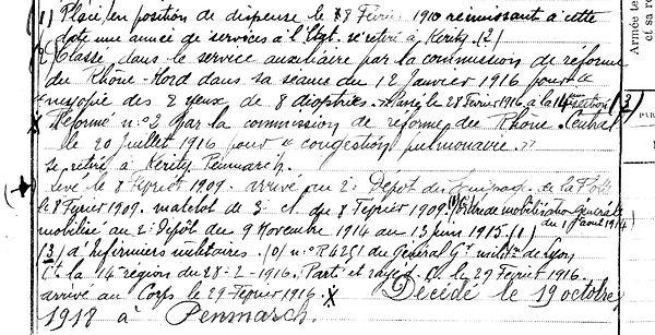lucas sebastien penmarch audierne kergadec 14-18 Finistère Non Mort France Réformé maladie tuberculose suicide fusillé accident
