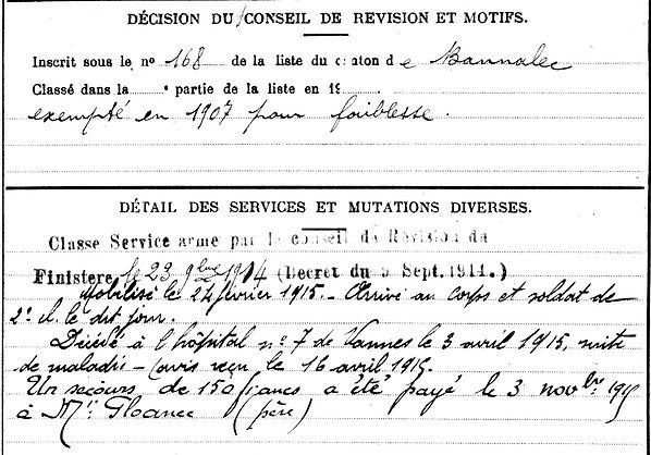 gloanec thomas jean joseph trevoux vannes 14-18 Finistère Non Mort France Réformé maladie tuberculose suicide fusillé accident