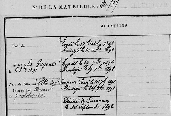 Garrec Alfred François Marie gourmelon brest bagne guyane ouanary finistere
