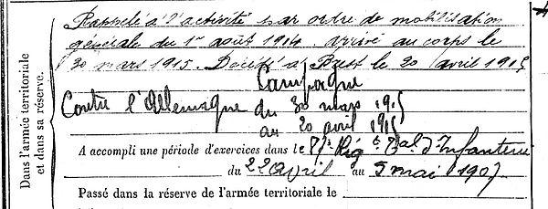 le jeune lejeune plouigneau pierre brest 14-18 Finistère Non Mort France Réformé maladie tuberculose suicide fusillé accident