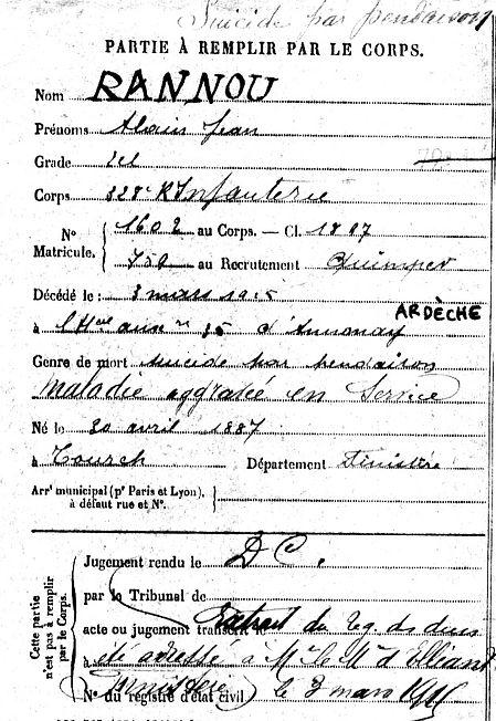 rannou alain jean tourch annonay ardeche  14-18 Finistère Non Mort France Réformé maladie tuberculose suicide fusillé accident