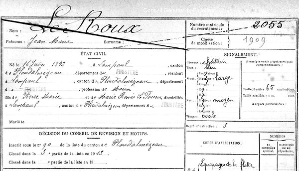 Le Roux Jean Marie Lampaul ploudalmezeau patrick milan anne apprioual guerre 1914 1917 14 18 patrimoine histoire plouguin finistere