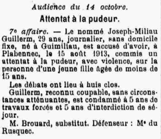 Guillerm Joseph Milliau Marie guimiliau goarnisson bagne guyane bagnard