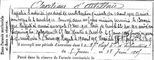 cozic jean pierre roche maurice landerneau 14-18 Finistère Non Mort France Réformé maladie tuberculose suicide fusillé accident