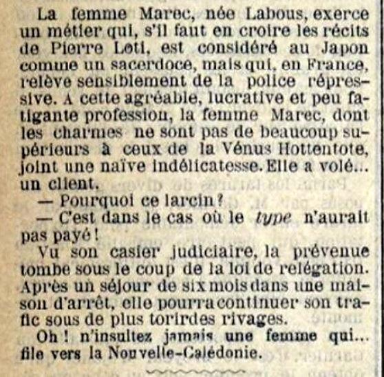 Labous Marie Françoise Thérère prostitution brest bagne guyane