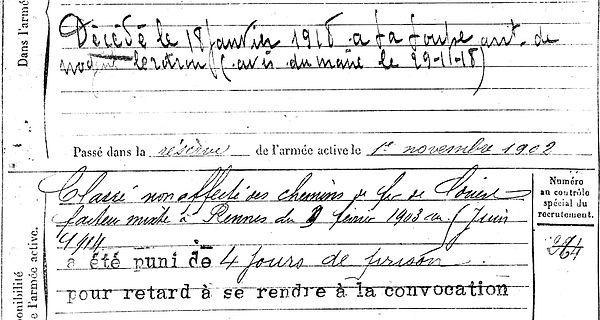 le moigne yves pierre marie plevin nogent le rtrou louoe 14-18 Finistère Non Mort France Réformé maladie tuberculose suicide fusillé accident