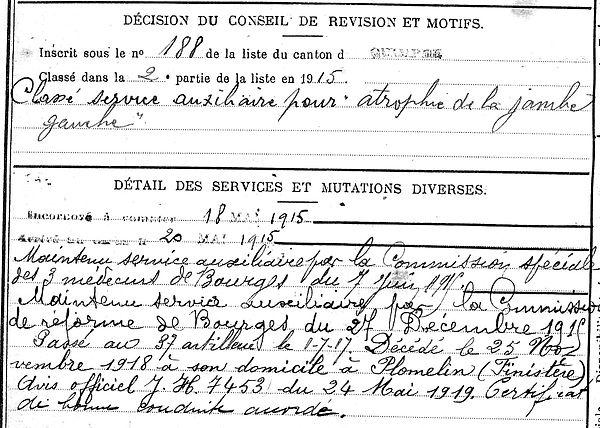 kernoa corentin marie plomelin penvelet 14-18 Finistère Non Mort France Réformé maladie tuberculose suicide fusillé accident