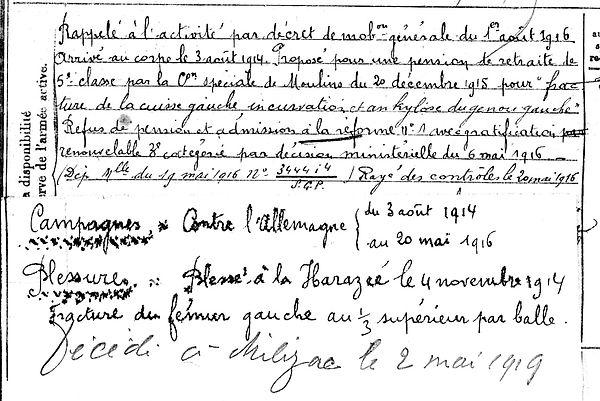 pennec gabriel milizac harazee 14-18 Finistère Non Mort France Réformé maladie tuberculose suicide fusillé accident