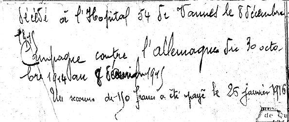 abbe campion guillaume marie pont labbe vannes 14-18 Finistère Non Mort France Réformé maladie tuberculose suicide fusillé accident