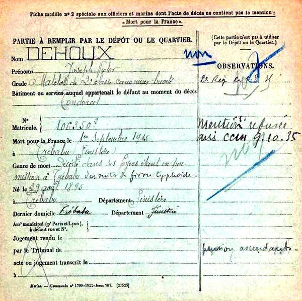 dehoux joseph victor cuiracce condorcet trebabu 14-18 Finistère Non Mort France Réformé maladie tuberculose suicide fusillé accident