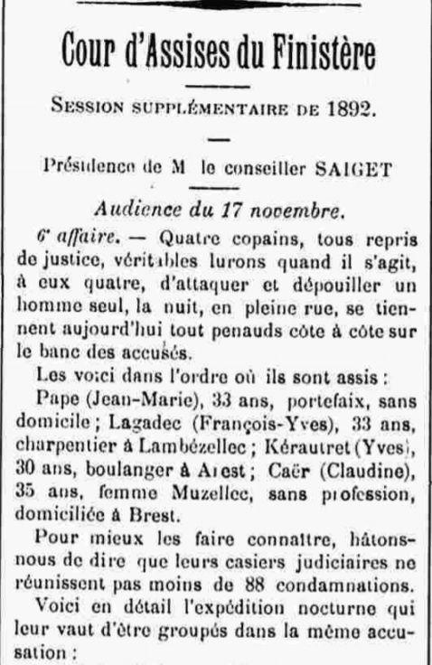 Lagadec François Yves lambezellec andre saint laurent maroni bagne guyane bagnard finistere