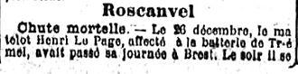 page henri marie locmelar fort tremet roscanvel 14-18 Finistère Non Mort France Réformé maladie tuberculose suicide fusillé accident