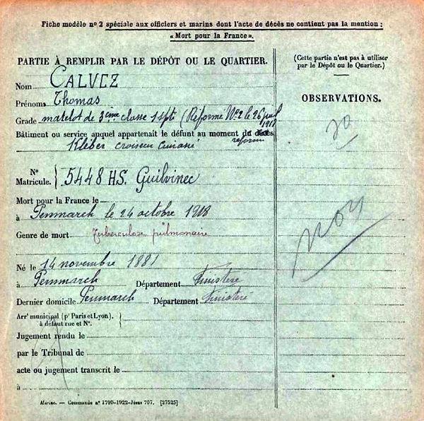calvez thomas penmarch cuirassé klebert 14-18 Finistère Non Mort France Réformé maladie tuberculose suicide fusillé accident