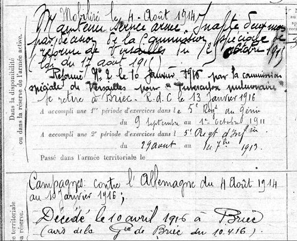 scotet françois briec 14-18 Finistère Non Mort France Réformé maladie tuberculose suicide fusillé accident