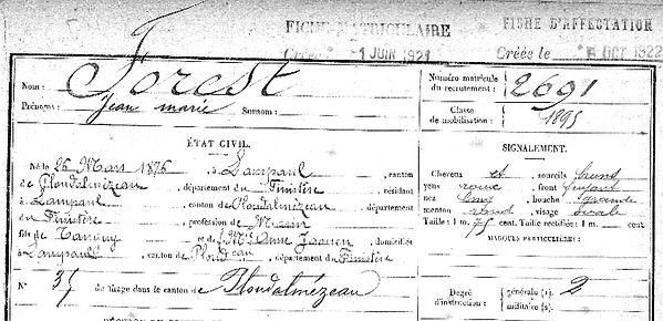 Forest Jean Marie Lampaul ploudalmezeau patrick milan anne appriou guerre 1914 1917 14 18 patrimoine histoire plouguin finistere