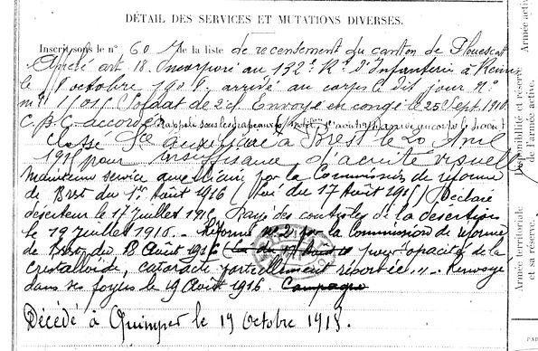 Abolivier Louis Treflez Quimper Guerre 14-18 Finistère Non Mort France Réformé maladie tuberculose suicide fusillé accident