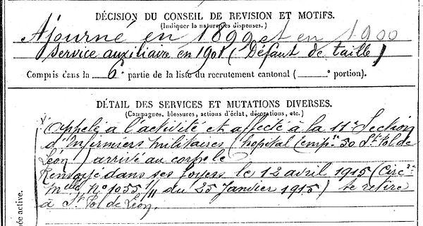 seite tanguy cleder penhoet saint nazaire pol leon 14-18 Finistère Non Mort France Réformé maladie tuberculose suicide fusillé accident