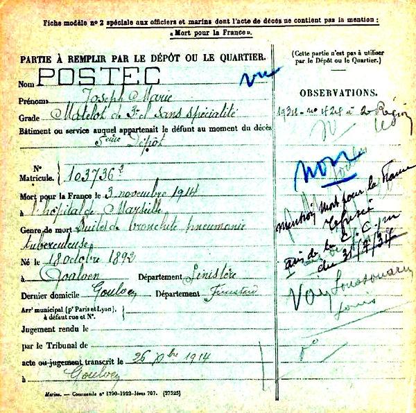 postec joseph marie toulon marseille 14-18 Finistère Non Mort France Réformé maladie tuberculose suicide fusillé accident