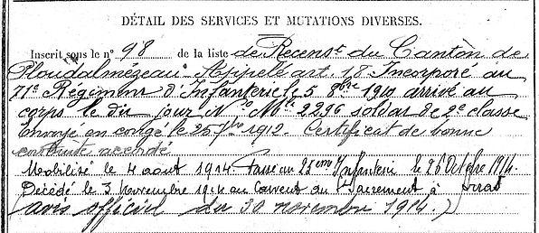 Arzel Hervé Jean François Marie Lampaul ploudalmezeau patrick milan anne appriou guerre 1914 1917 14 18 patrimoine histoire plouguin finistere