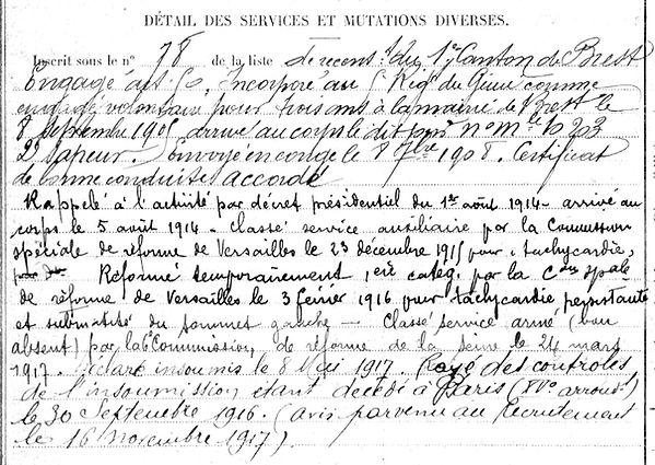 peres aristide brest paris boucicaut 14-18 Finistère Non Mort France Réformé maladie tuberculose suicide fusillé accident