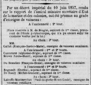Gazette nationale 11 juin 1857 Enseigne