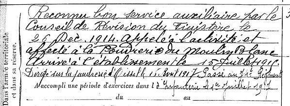 losquin eugene morlaix bordeaux oissel moulin blanc 14-18 Finistère Non Mort France Réformé maladie tuberculose suicide fusillé accident