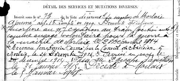 guyader henri françois marie morlaix 14-18 Finistère Non Mort France Réformé maladie tuberculose suicide fusillé accident