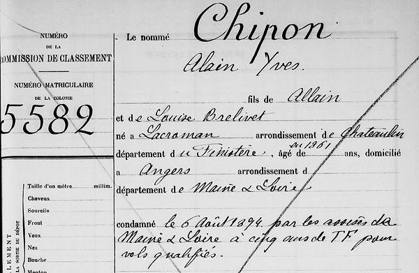 Chipon Alain Yves locronan bagne guyane bagnard