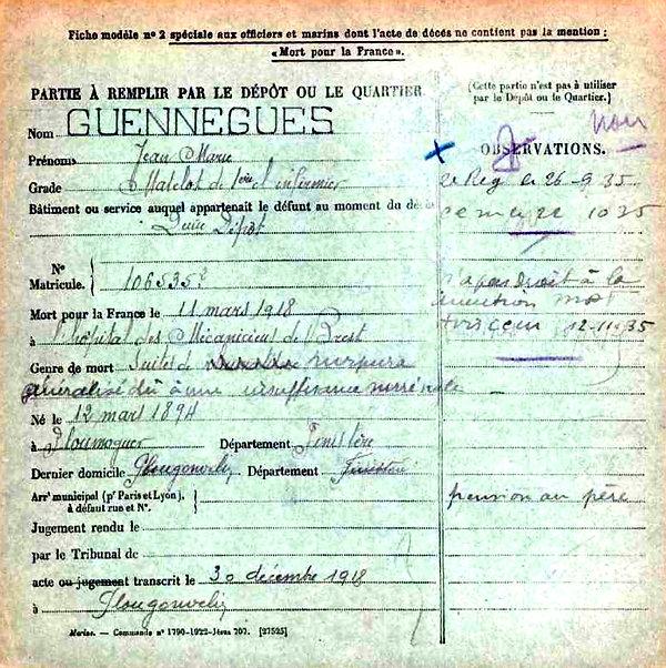guennegues jean marie ploumoguer brest 14-18 Finistère Non Mort France Réformé maladie tuberculose suicide fusillé accident