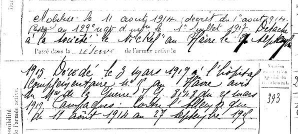 cumunel joseph louis cleden ca sizun havre nickel 14-18 Finistère Non Mort France Réformé maladie tuberculose suicide fusillé accident
