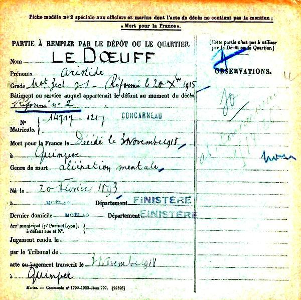 le doeuf aristide quimper 14-18 Finistère Non Mort France Réformé maladie tuberculose suicide fusillé accident