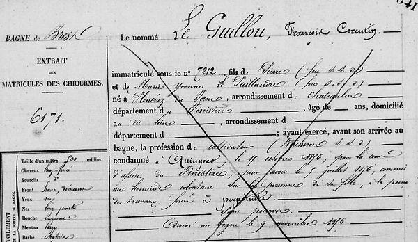 Le Guillou François Corentin plonevez du faou puillandre bagne guyane bagnard