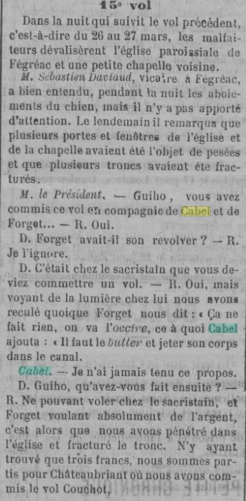 Cabel Victor César evade bagne guyane ergue armel saint nazaire finistere bagnard