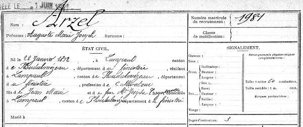 Arzel Auguste Marie Joseph Lampaul ploudalmezeau patrick milan anne appriou guerre 1914 1917 14 18 patrimoine histoire plouguin finistere