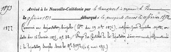 Quiniou Prosper Marie pont abbefinistee communard commune paris bagne nouvelle caledonie