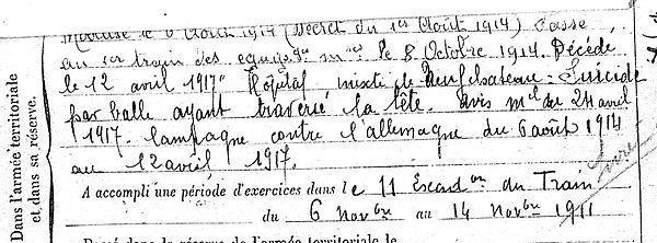 toupin yves landrevarzec CVAX neufchateau vosges 14-18 Finistère Non Mort France Réformé maladie tuberculose suicide fusillé accident
