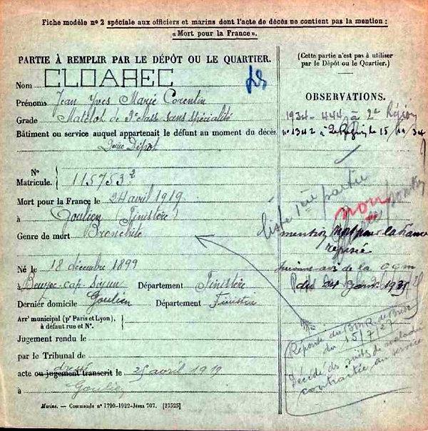 cloarec jean yves marie corentin goulien 14-18 Finistère Non Mort France Réformé maladie tuberculose suicide fusillé accident