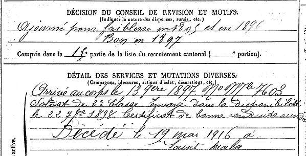 lastennet louis marie dineault saint malo 14-18 Finistère Non Mort France Réformé maladie tuberculose suicide fusillé accident