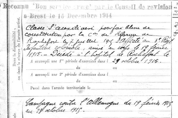 tanguy jean marie saint pabu rochefort 14-18 Finistère Non Mort France Réformé maladie tuberculose suicide fusillé accident
