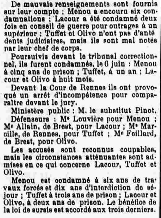 Menou Auguste Marie lombart evade evasion bagne guyane bagnard brest